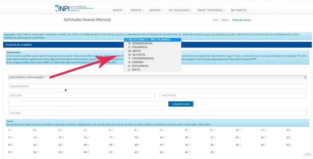 formulario INPI para registrar marcas en Argentina